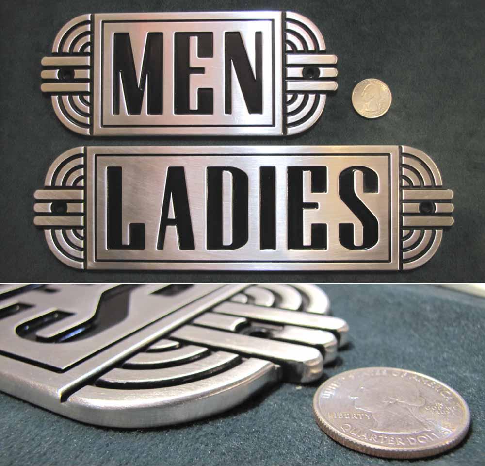 Art Deco Metal Restroom Ladies Men Sign Steampunk Machine